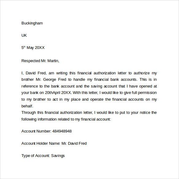 Sample Bank Authorization Letter U2013 9 Free Examples