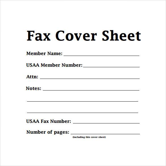plain fax cover sheet