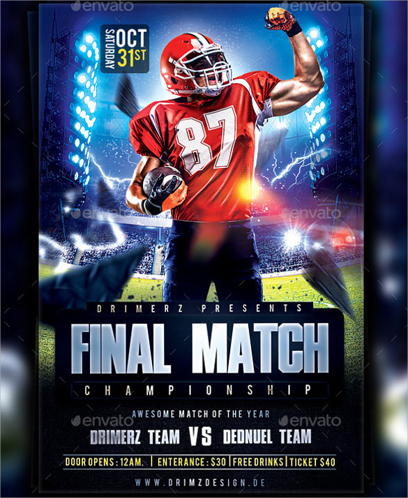 Spectacular Football Flyer Templates 14 Download Documents In Vector EPSPSD Sample Templates
