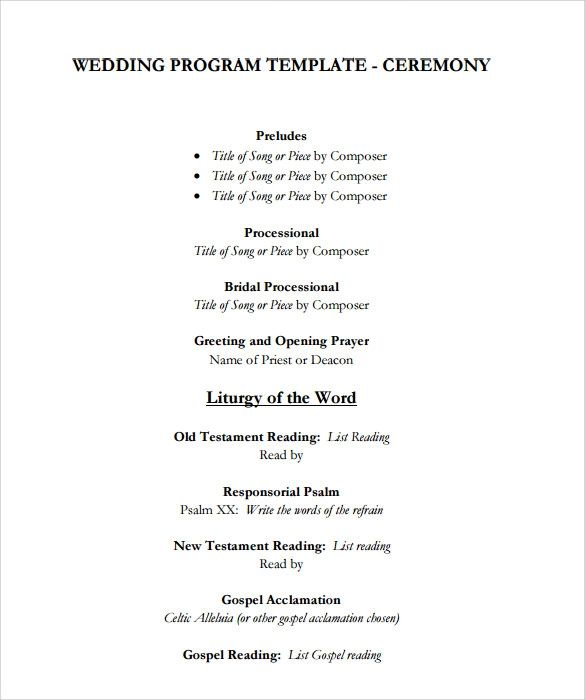 example wedding programs
