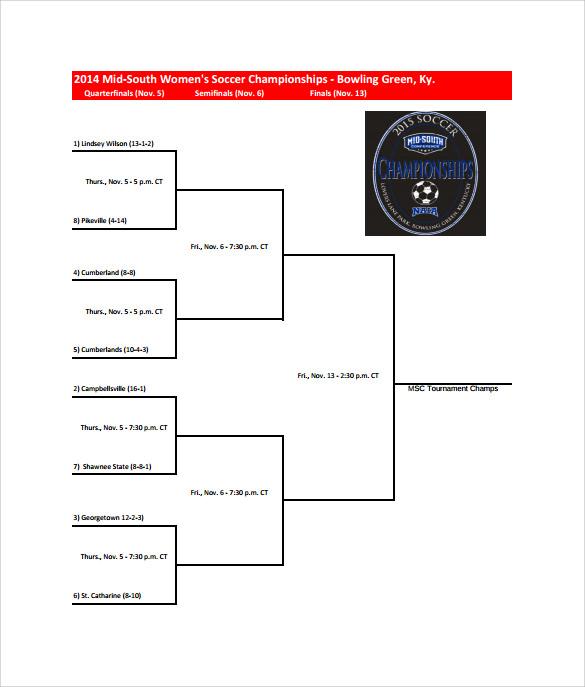 6 Sample Tournament Brackets Sample Templates