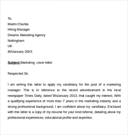 Example Marketing Cover Letter