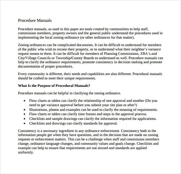 procedure manual template word free