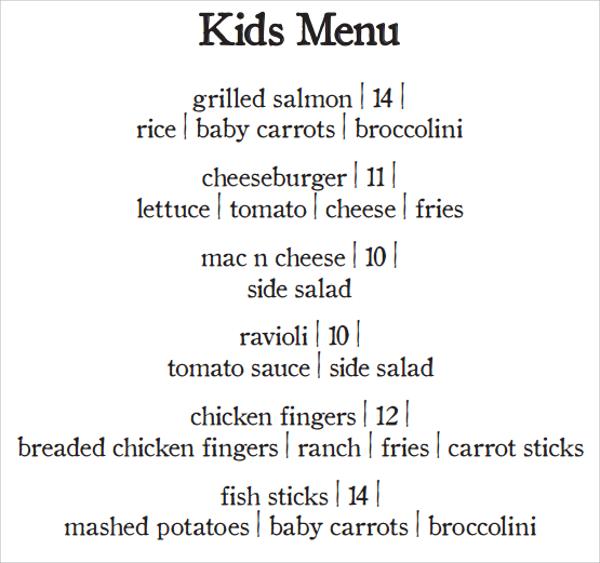 20 Sample Kids Menu Templates  Sample Templates