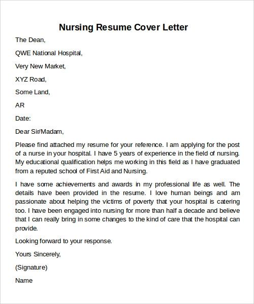 resume and cover letter examples for nurses
