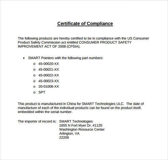 Sample Certificate of Compliance  16 Documents in PDF PSD AI InDesign