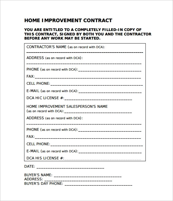 Image Result For Remodeling Contract Templates