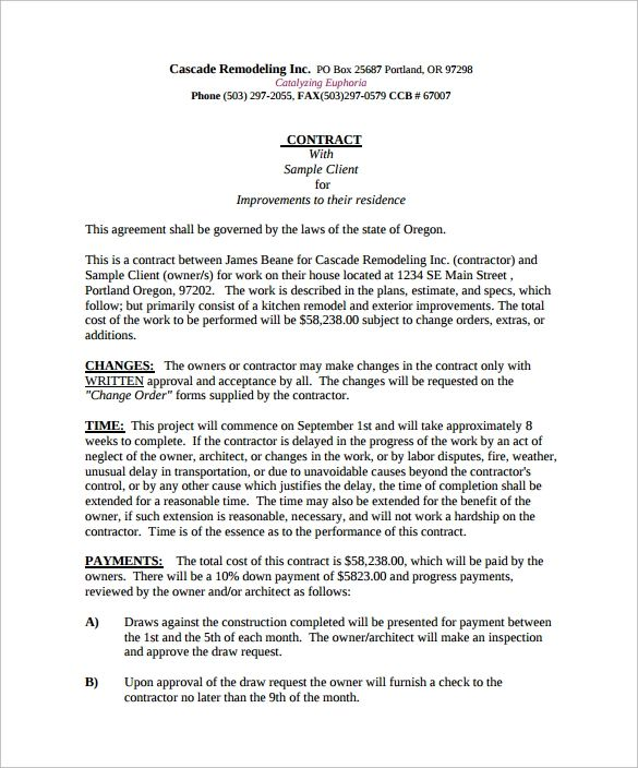 kitchen remodeling contract sample