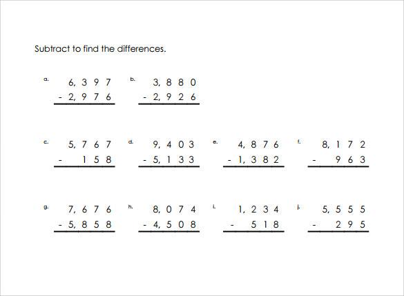 Free 12 Sample Vertical Subtraction Worksheet Templates