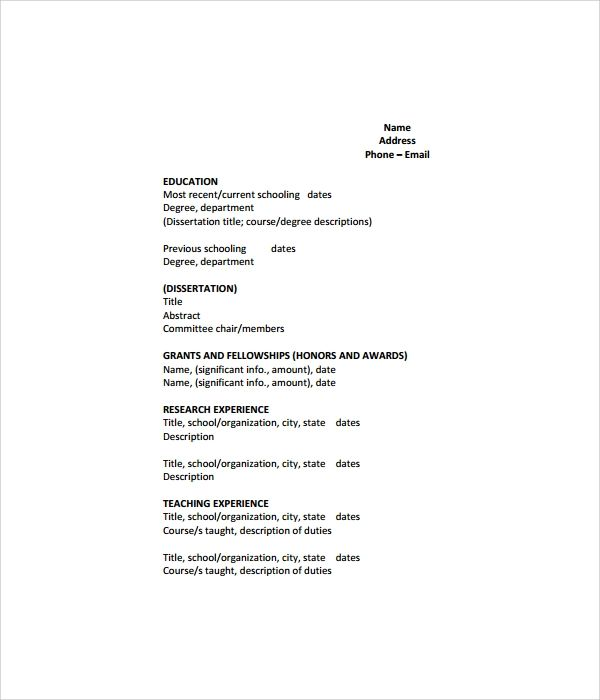 cv model simple pdf