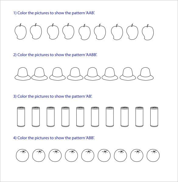 14 Patterning Worksheet Samples