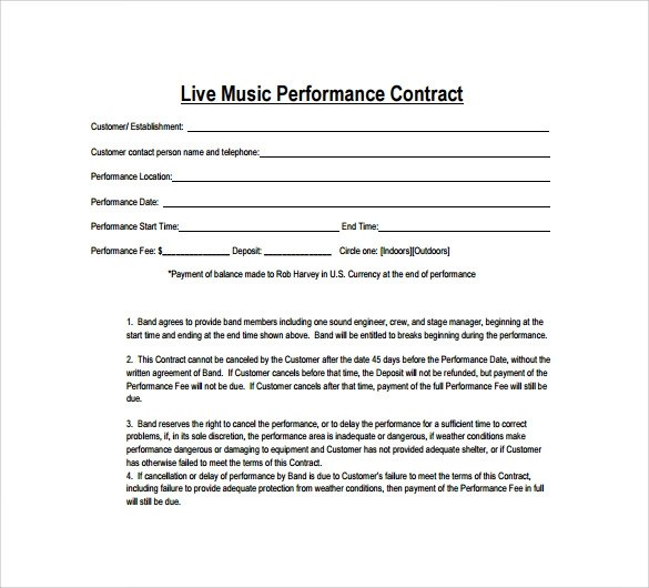 15+ Music Contract Templates  Sample Templates