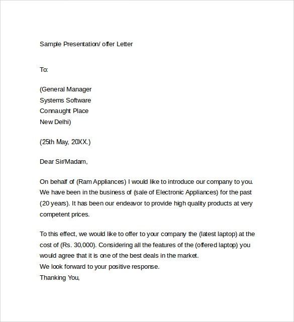 Sample Offer Letter Template 14 Free Examples Format