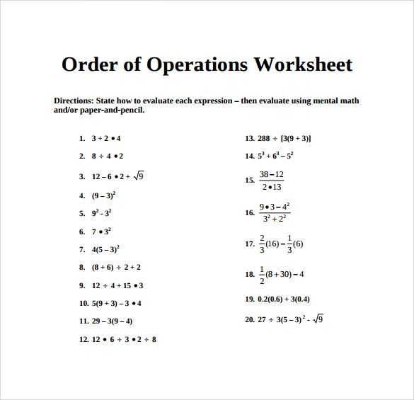 12+ Sample Order of Operations Worksheets