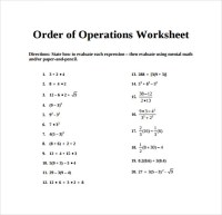 12+ Sample Order of Operations Worksheets | Sample Templates