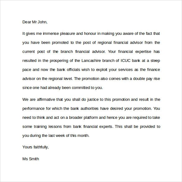 17 Promotion Letters DOC PDF