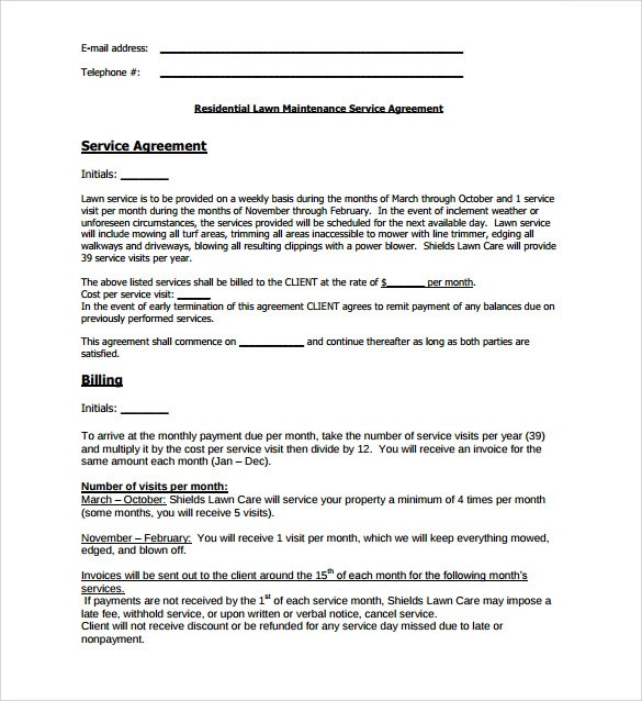 16 rows· the lawn care schedule featured here forms part of our free lawn care contract and clearly … Free 11 Lawn Service Contract Templates In Pdf Google Docs Ms Word