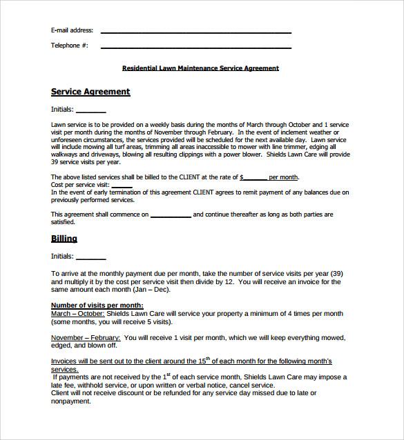 lawn maintenance service agreement