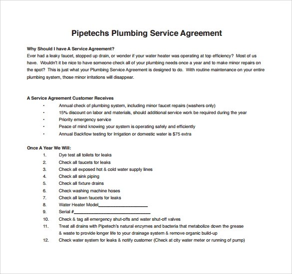 Plumbing Contract Template Employment Contract Template Contarct