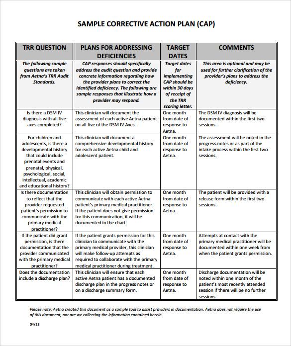 Employee Corrective Action Plan Template | Designmore