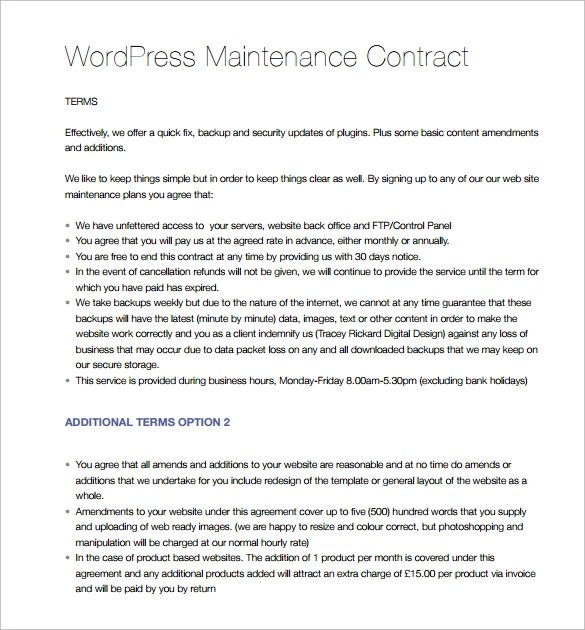 14 Maintenance Contract Templates To Download For Free