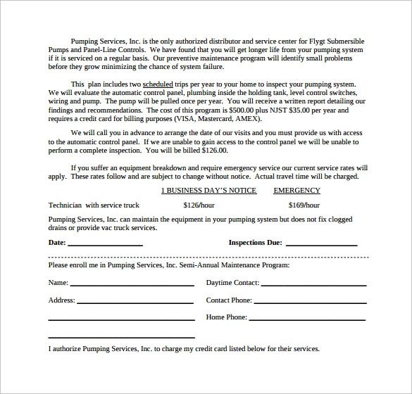 free hvac maintenance agreement forms