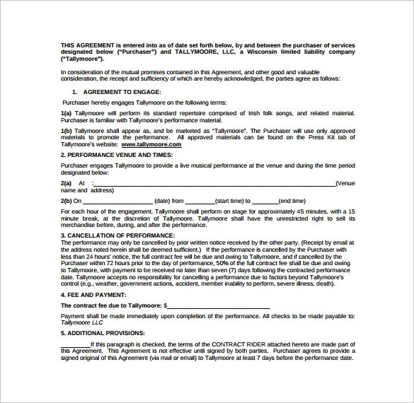Performance Contract Template 11 Download Free