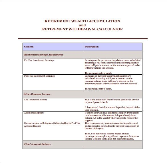 retirement withdrawal calculator excel