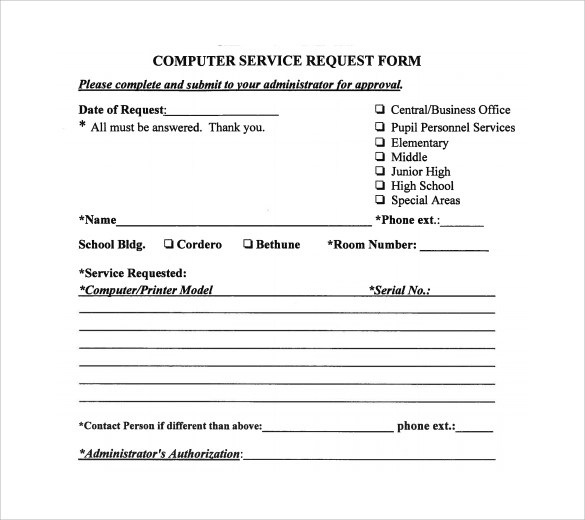 13 Computer Service Request Form Templates To Download