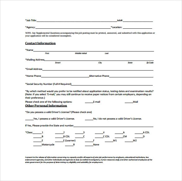 Sample Civil Service Exam Application Form 8 Download