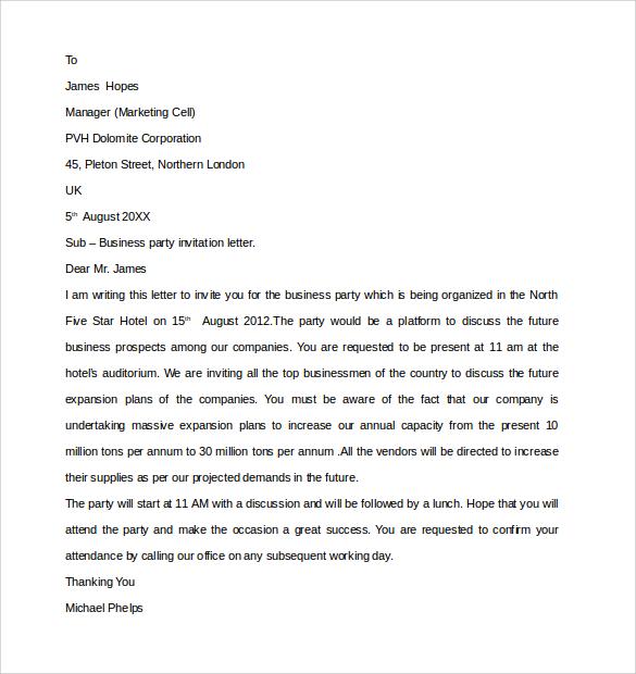Sample business invitation letter sample business invitation letter party invitation letter template docoments ojazlink stopboris Choice Image