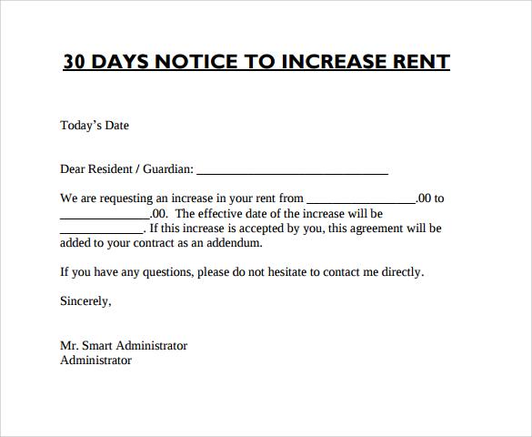 california rent increase letter