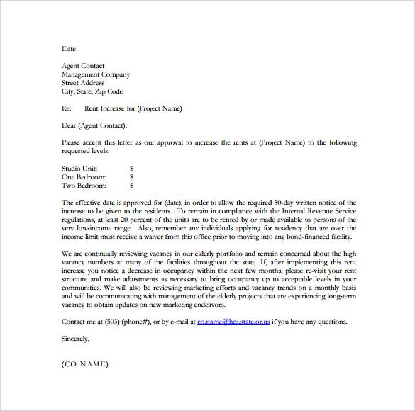 rental increase letter sample
