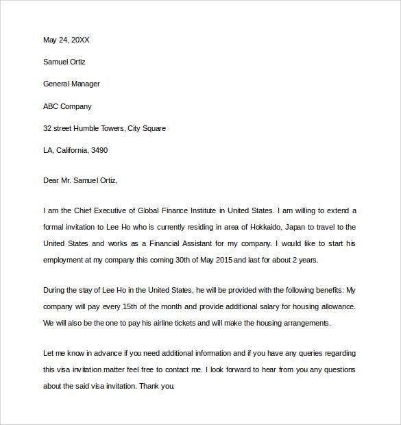 Simple Invitation Letter For Us Visa