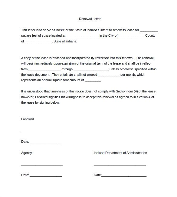 residential lease extension letter