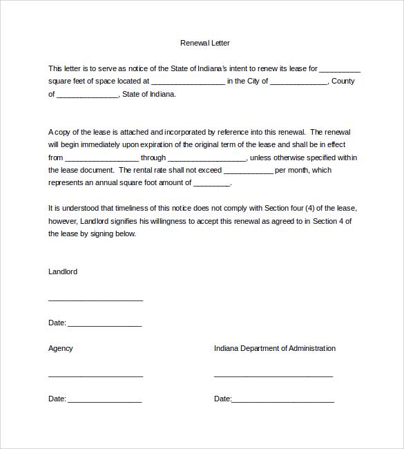 commercial lease renewal letter