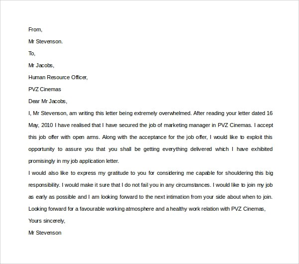 Thank You Letter After Job Acceptance  Docoments Ojazlink