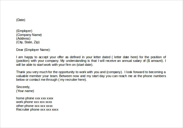 Sample Thank You Letter For Job Offer 9 Download Free