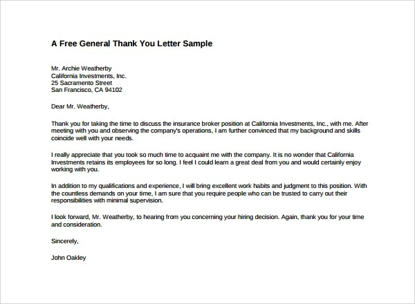 10 Formal Thank You Letters To Download For Free Sample