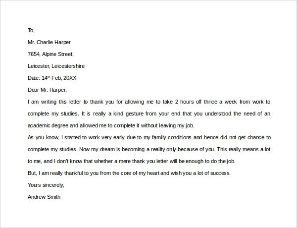 thank you letter to former employer