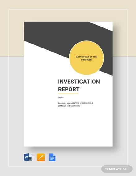 16 Investigation Report Templates Google Docs Word PDF