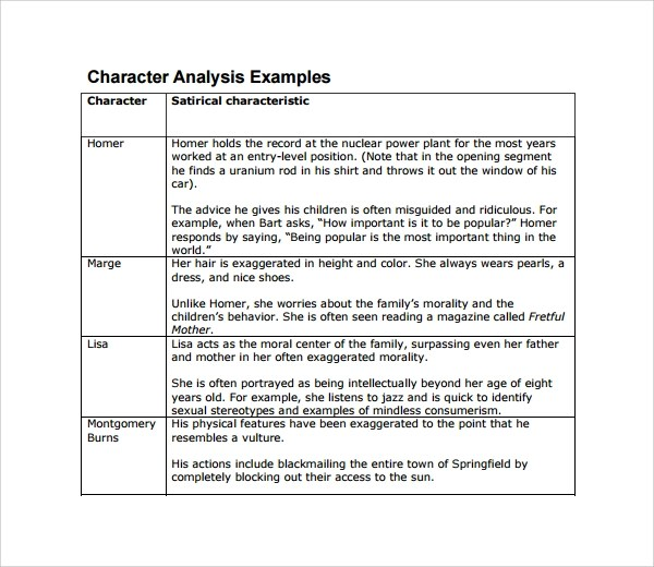 character analysis essay examples