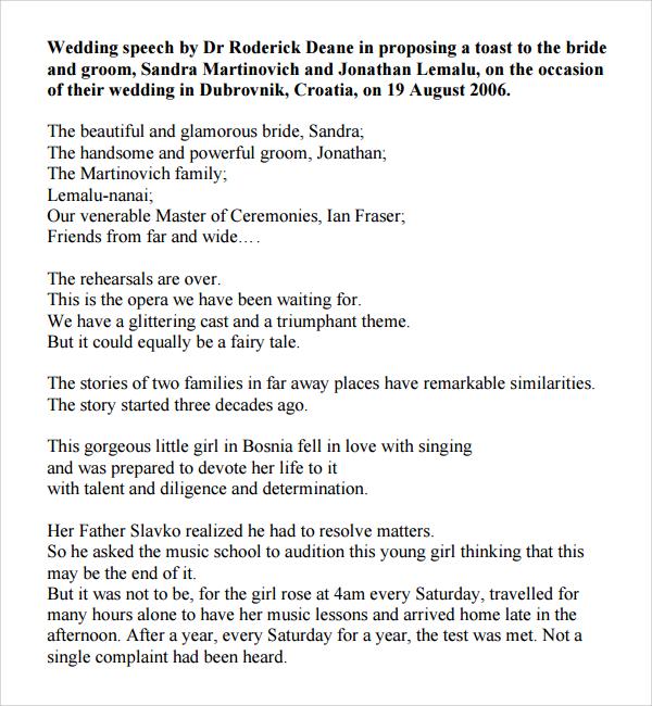 8 Wedding Speech Examples PDF