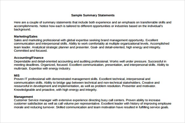 9 Professional Summary Templates To Download Sample
