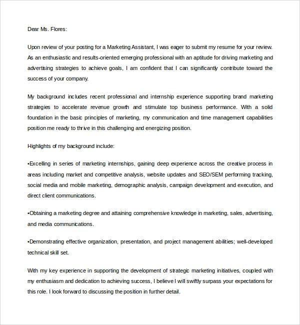 Sample Marketing Assistant Cover Letter  8 Free