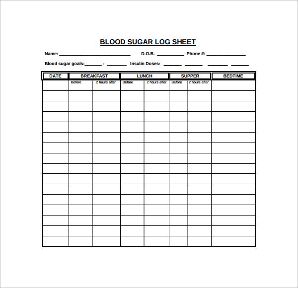 printable blood sugar log sheet