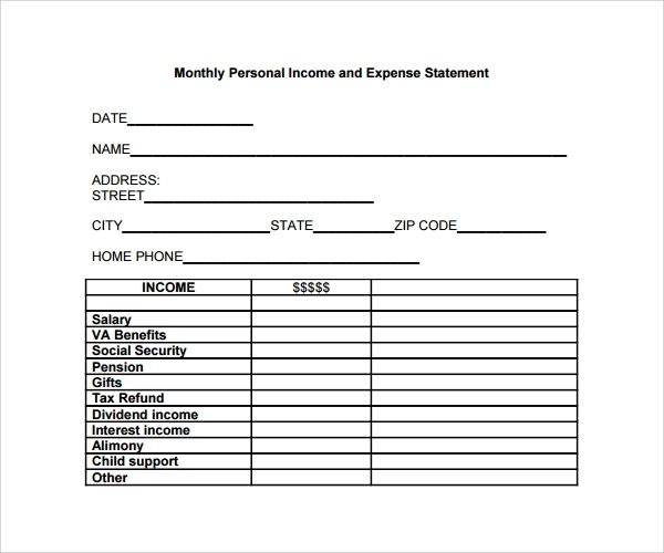 template income and expenditure form