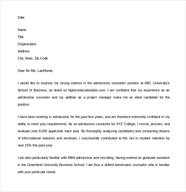 Cover Letter Admissions Assistant