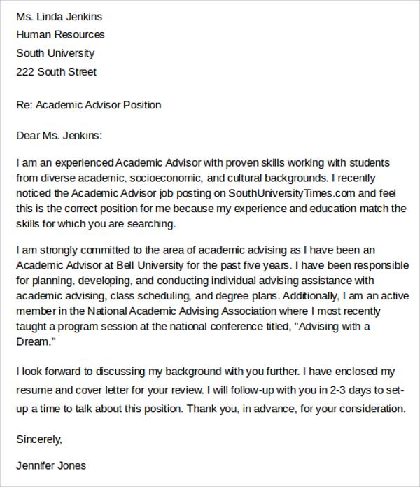 Academic Advisor Cover Letter Sample