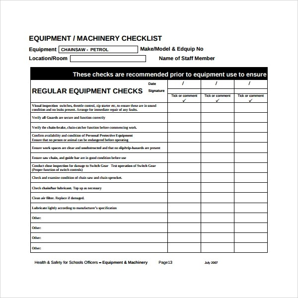 17+ Maintenance Checklist Templates  Pdf, Word, Pages